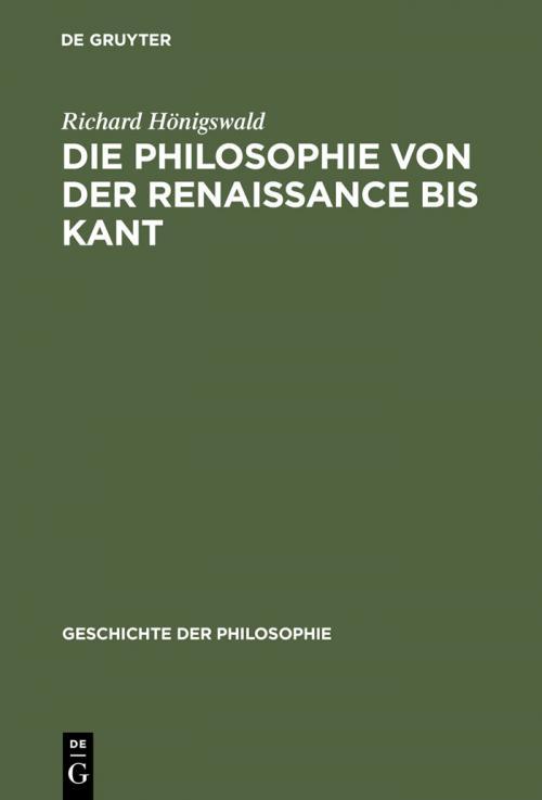 Die Philosophie von der Renaissance bis Kant cover
