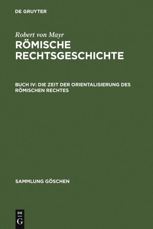 Die Zeit der Orientalisierung des römischen Rechtes cover