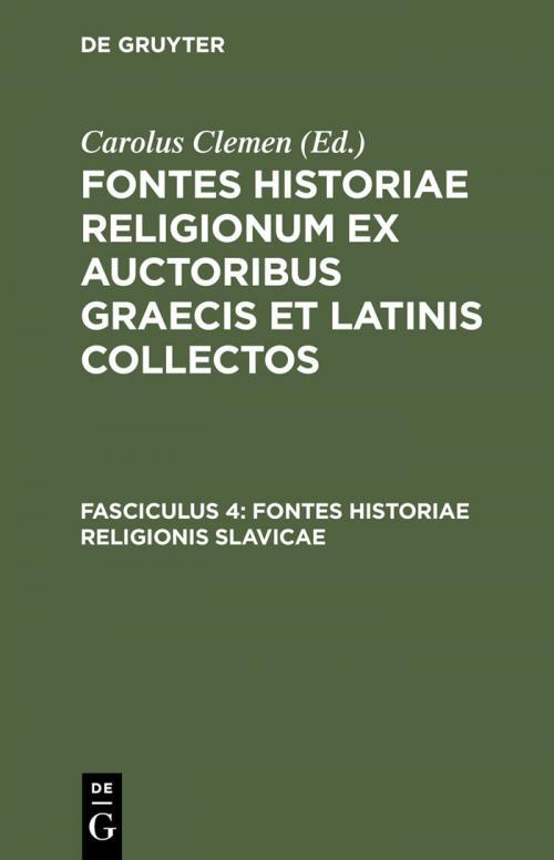 Fontes historiae religionis Slavicae cover