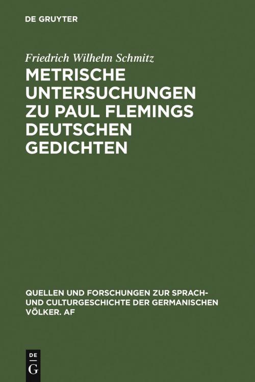 Metrische Untersuchungen zu Paul Flemings deutschen Gedichten cover