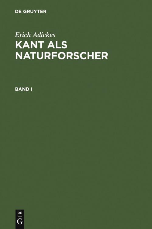 Kant als Naturforscher. Band I cover
