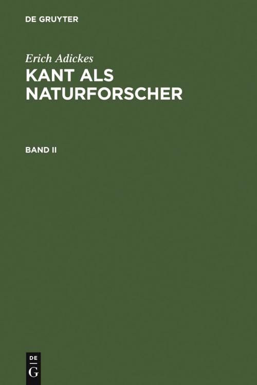 Kant als Naturforscher. Band II cover