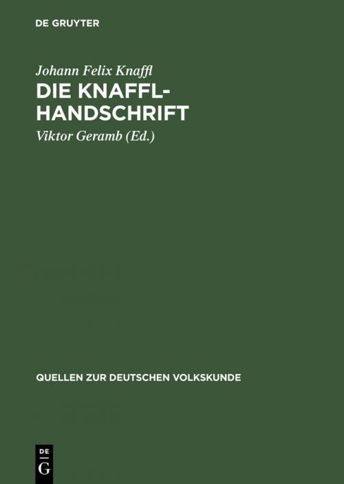 Die Knaffl-Handschrift cover