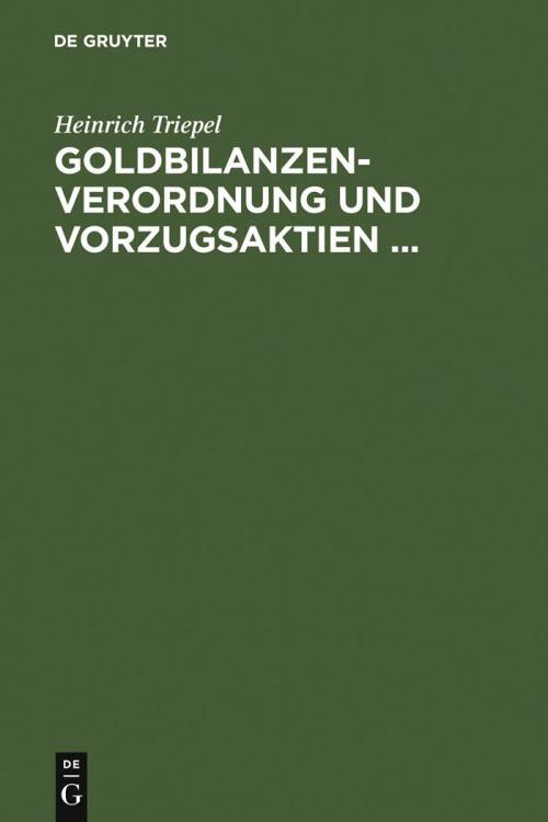 Goldbilanzen-Verordnung und Vorzugsaktien ... cover