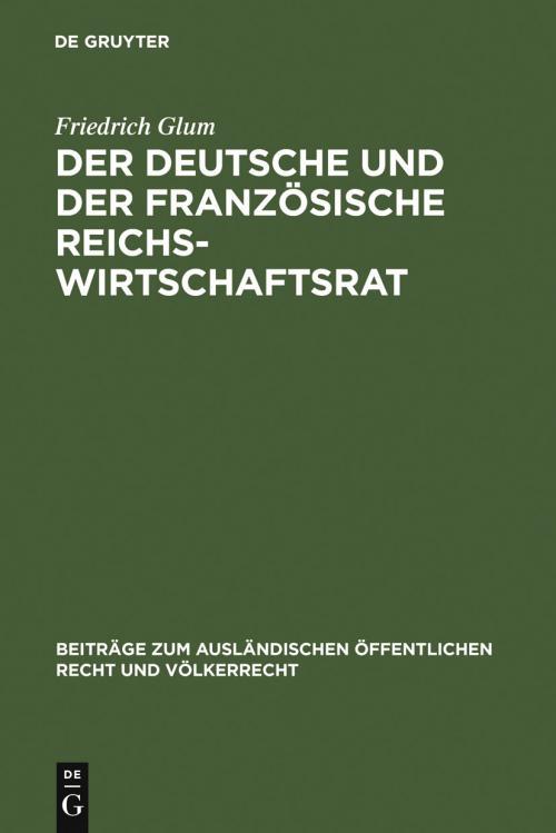 Der deutsche und der französische Reichswirtschaftsrat cover