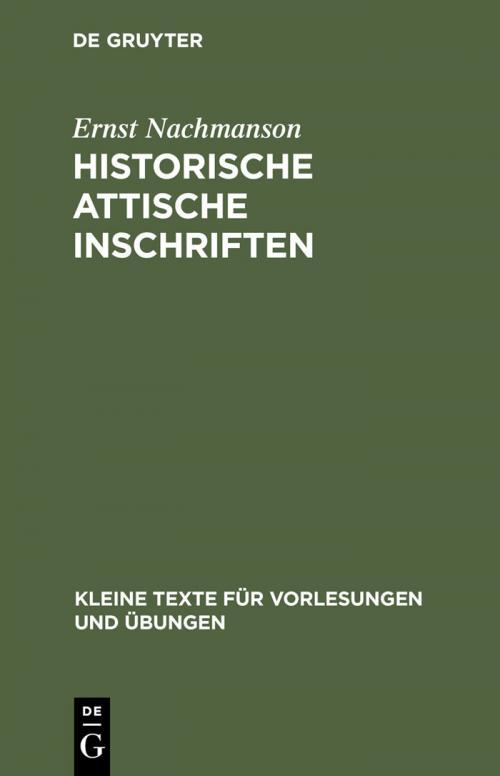 Historische attische Inschriften cover