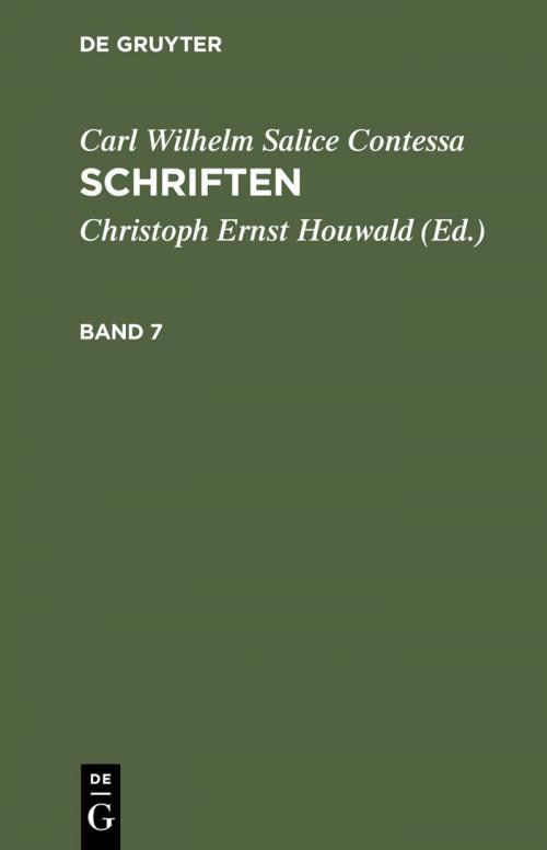 Carl Wilhelm Salice Contessa: Schriften. Band 7 cover