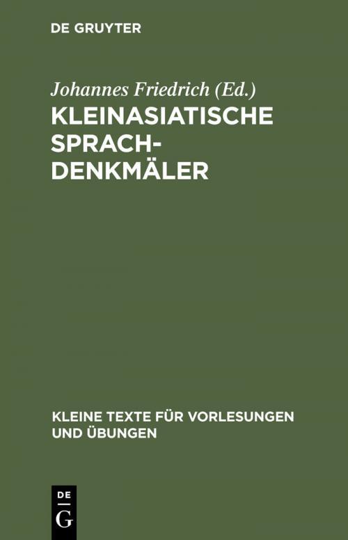 Kleinasiatische Sprachdenkmäler cover