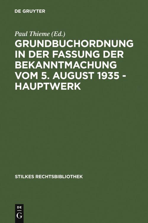 Grundbuchordnung in der Fassung der Bekanntmachung vom 5. August 1935 – Hauptwerk cover