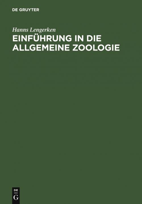 Einführung in die allgemeine Zoologie cover
