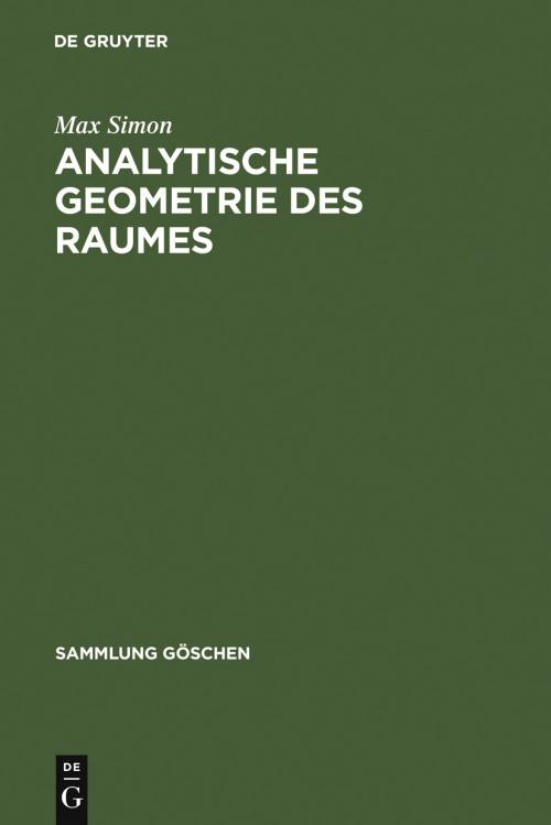Analytische Geometrie des Raumes cover