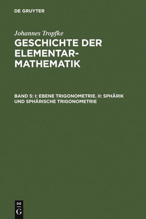 I: Ebene Trigonometrie. II: Sphärik und sphärische Trigonometrie cover
