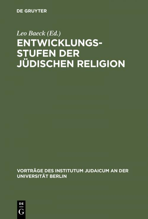 Entwicklungsstufen der jüdischen Religion cover