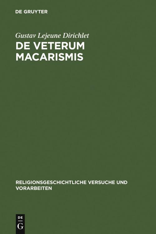 De veterum macarismis cover