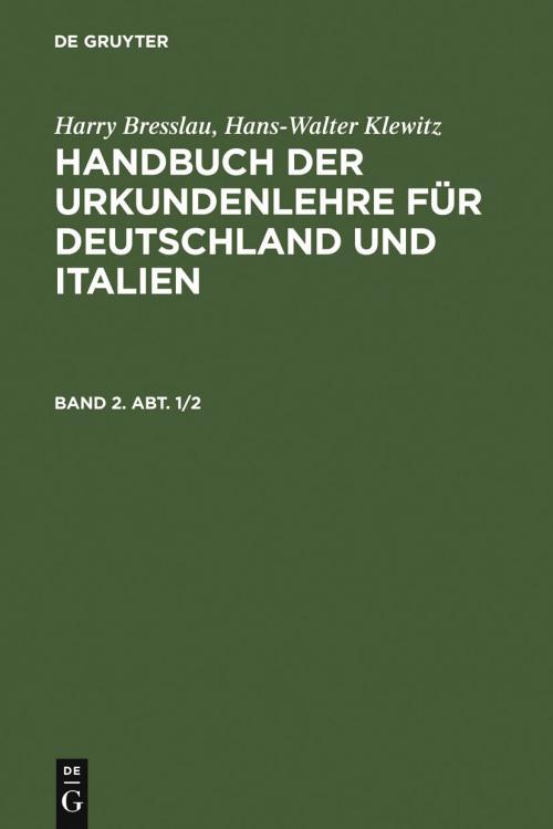 Handbuch der Urkundenlehre für Deutschland und Italien. Band 2. Abt. 1/2 cover