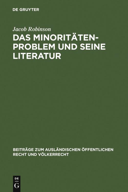 Das Minoritätenproblem und seine Literatur cover