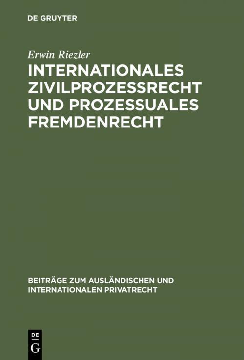 Internationales Zivilprozessrecht und prozessuales Fremdenrecht cover