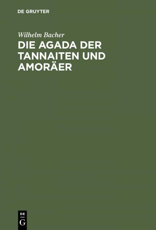 Die Agada der Tannaiten und Amoräer cover