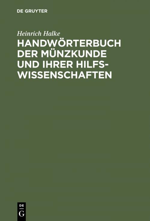 Handwörterbuch der Münzkunde und ihrer Hilfswissenschaften cover