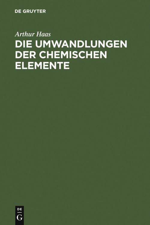 Die Umwandlungen der chemischen Elemente cover