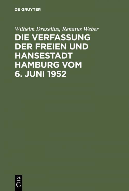 Die Verfassung der Freien und Hansestadt Hamburg vom 6. Juni 1952 cover