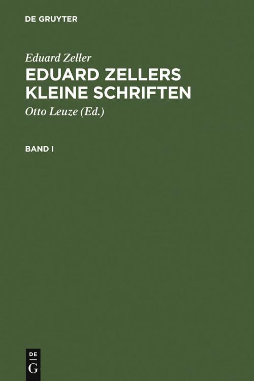 Eduard Zellers Kleine Schriften cover
