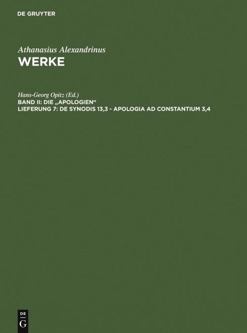 De synodis 13,3 - Apologia ad Constantium 3,4 cover