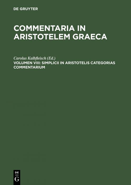 Simplicii in Aristotelis categorias commentarium cover