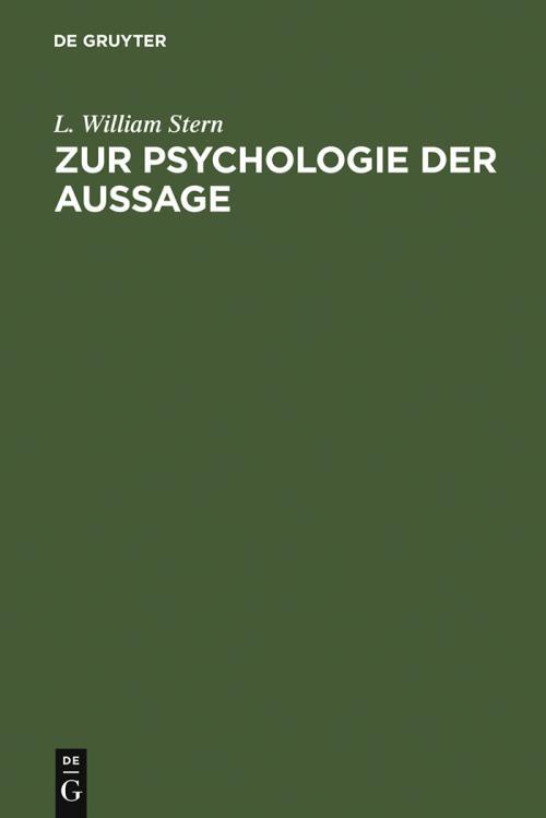 Zur Psychologie der Aussage cover