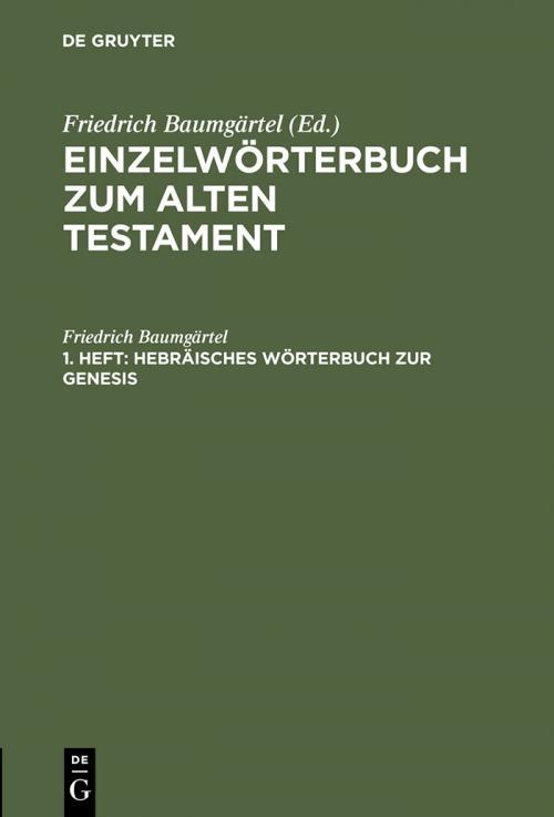 Hebräisches Wörterbuch zur Genesis cover