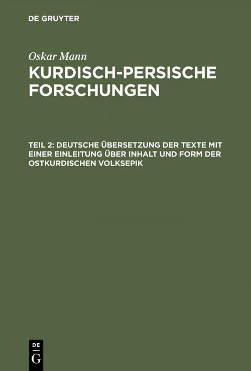 Deutsche Übersetzung der Texte mit einer Einleitung über Inhalt und Form der ostkurdischen Volksepik cover