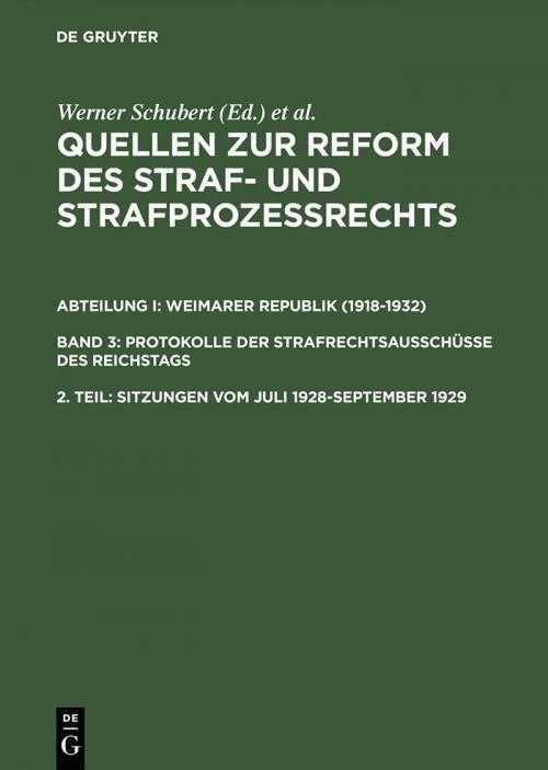 Sitzungen vom Juli 1928–September 1929 cover