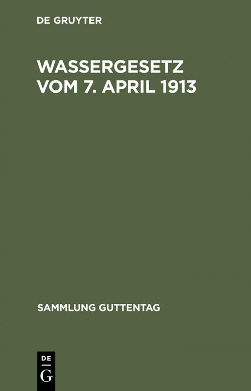 Wassergesetz vom 7. April 1913 cover