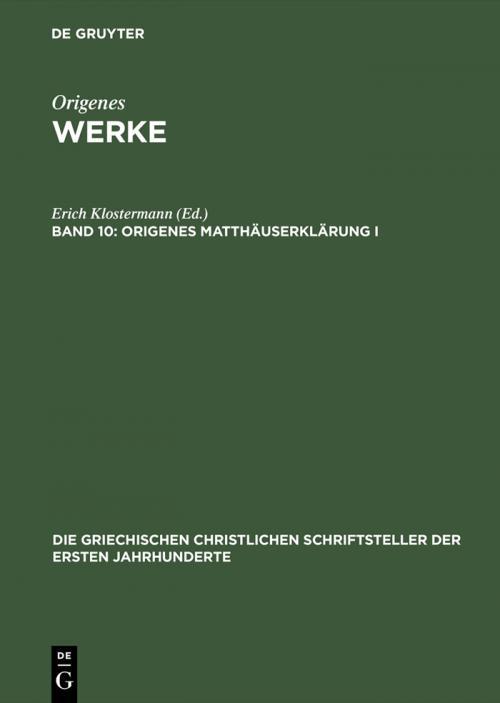 Origenes Matthäuserklärung I cover