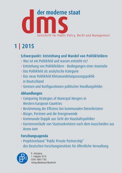 der moderne staat - dms – Zeitschrift für Public Policy, Recht und Management 1/2015 cover