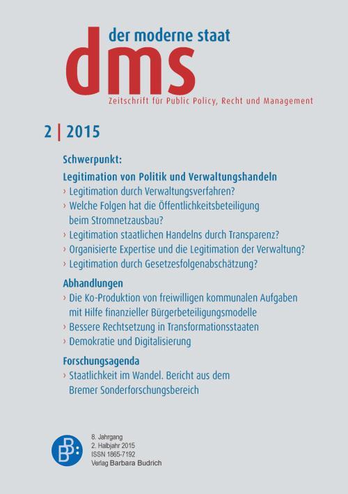 der moderne staat - dms – Zeitschrift für Public Policy, Recht und Management 2/2015 cover