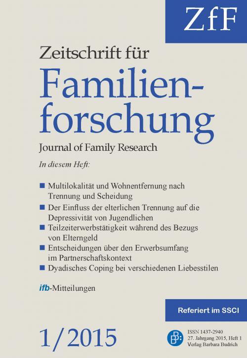ZfF – Zeitschrift für Familienforschung 1/2015 cover