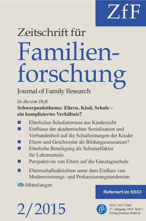 ZfF – Zeitschrift für Familienforschung 2/2015 cover