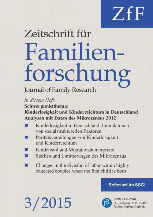 ZfF – Zeitschrift für Familienforschung 3/2015 cover