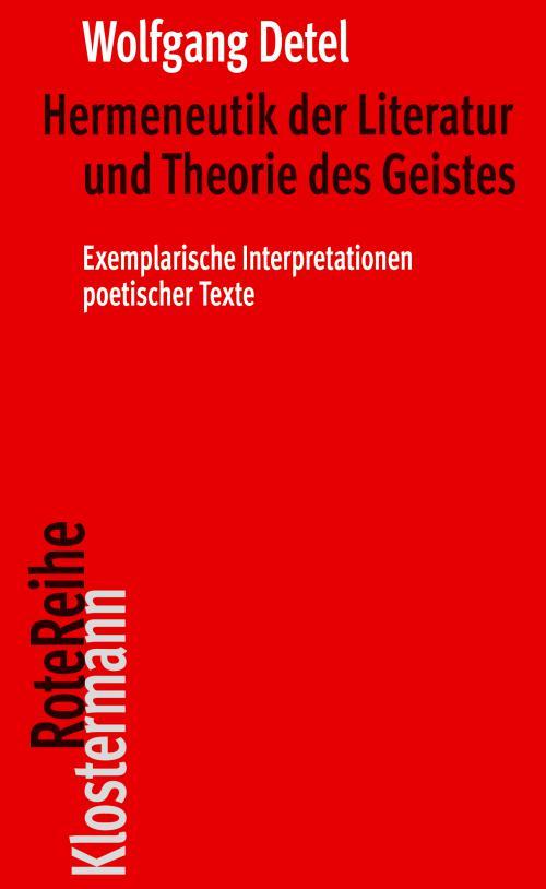 Hermeneutik der Literatur und Theorie des Geistes cover