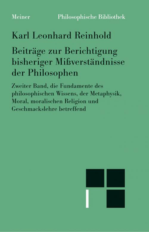 Beiträge zur Berichtigung bisheriger Mißverständnisse der Philosophen cover