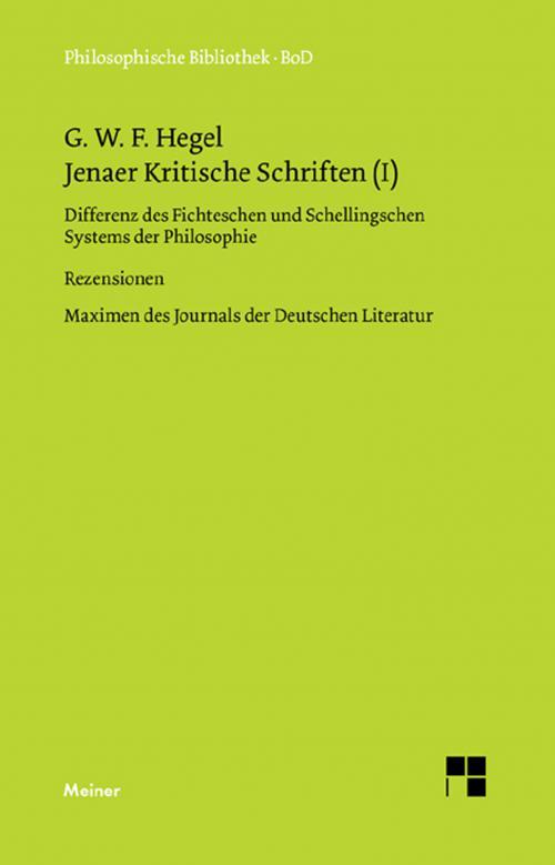 Jenaer Kritische Schriften (I) cover