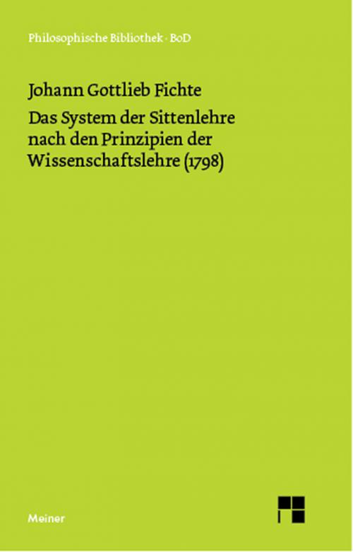 Das System der Sittenlehre nach den Prinzipien der Wissenschaftslehre (1798) cover