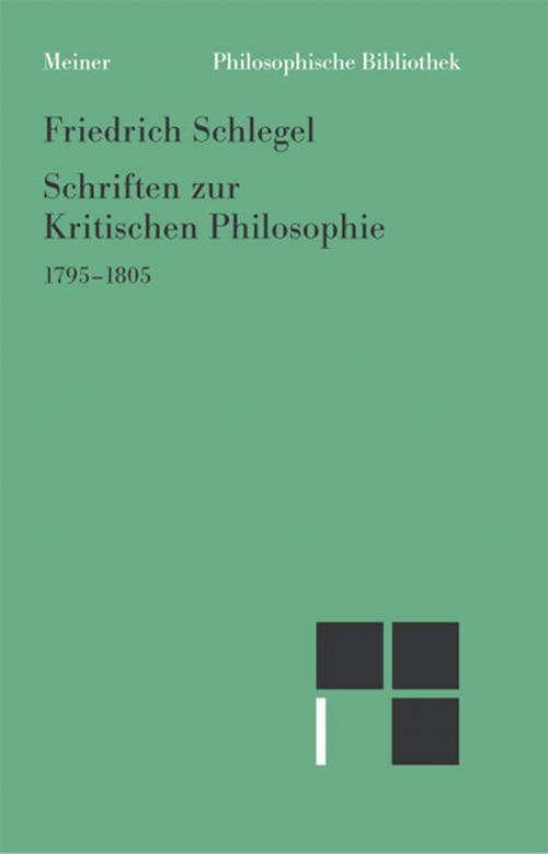 Schriften zur Kritischen Philosophie 1795-1805 cover