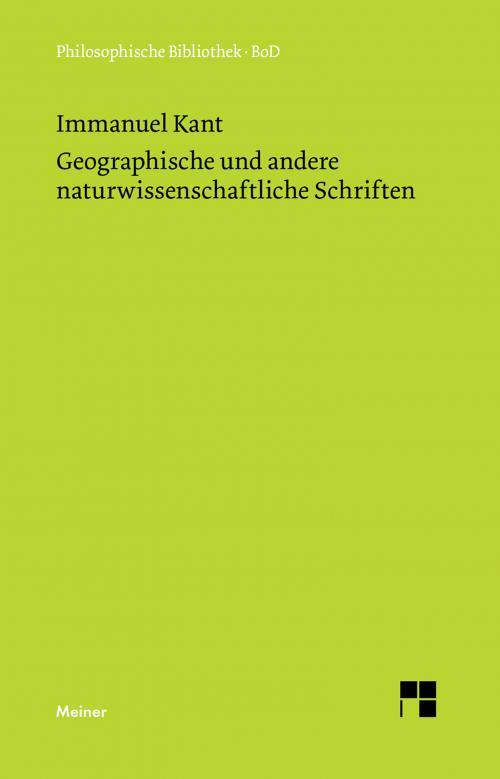 Geographische und andere naturwissenschaftliche Schriften cover