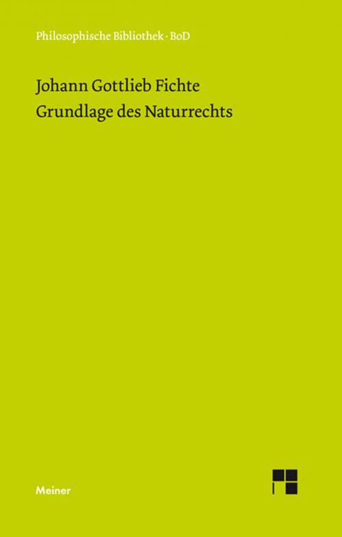 Grundlage des Naturrechts nach Prinzipien der Wissenschaftslehre (1796) cover