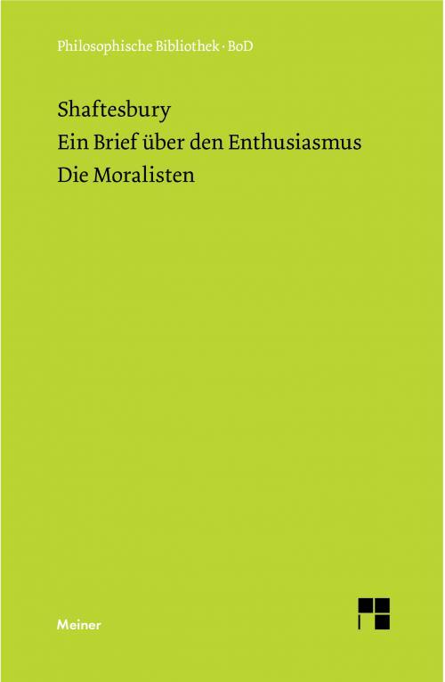 Ein Brief über den Enthusiasmus. Die Moralisten cover