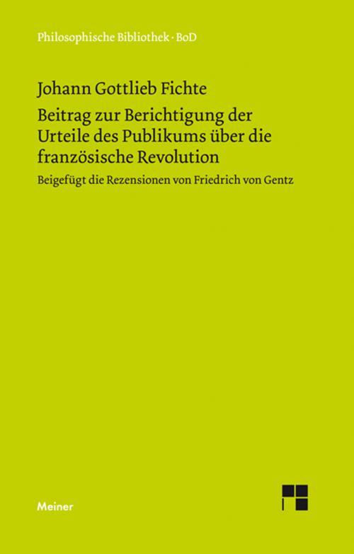 Beitrag zur Berichtigung der Urteile des Publikums über die französische Revolution (1793) cover