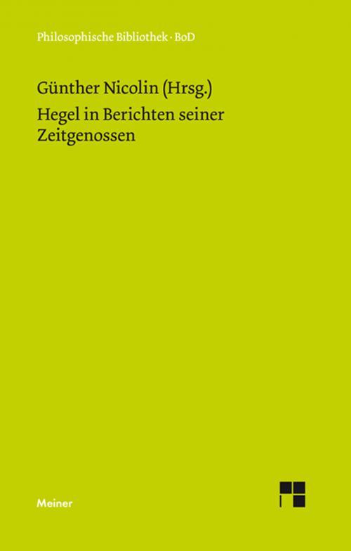 Hegel in Berichten seiner Zeitgenossen cover