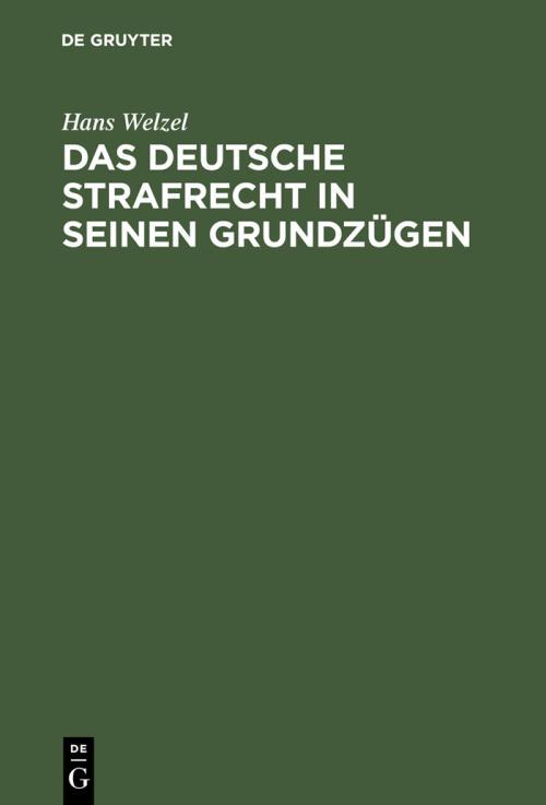Das deutsche Strafrecht in seinen Grundzügen cover
